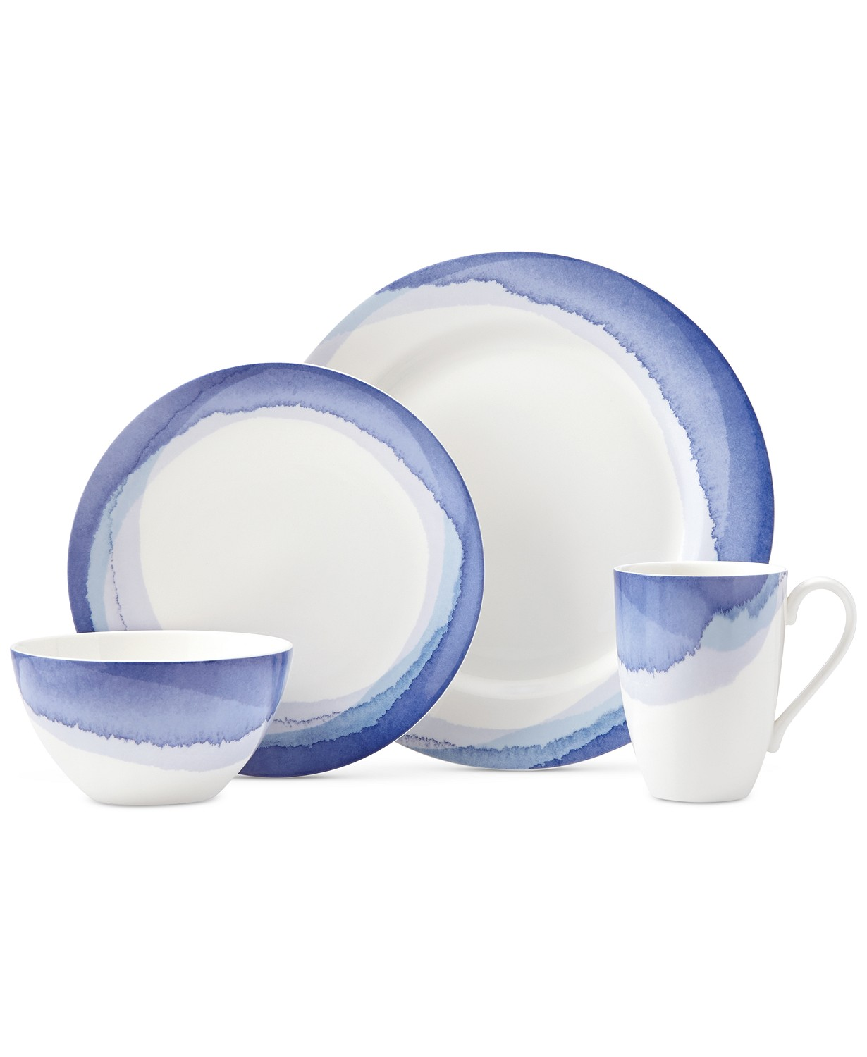 Lenox Indigo Watercolor Stripe Porcelain 4-Pc. Place Setting, Created for Macy's