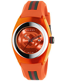 Gucci Unisex Swiss Sync Orange Striped Rubber Strap Watch 36mm YA137311