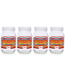 Fiesta Scarlet Stripe Set of 4 Mason Jar Glasses