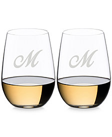 Riedel O Monogram Collection 2-Pc. Script Letter Riesling/Sauvignon Blanc Stemless Wine Glasses