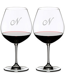 Riedel Vinum Monogram Collection 2-Pc. Script Letter Pinot Noir Wine Glasses