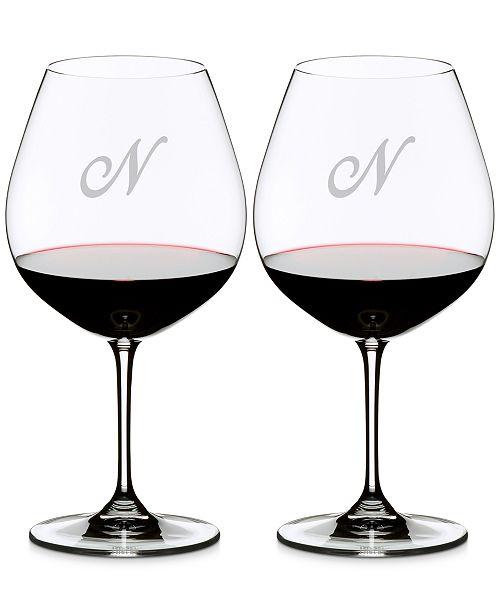 Riedel Vinum Monogram Collection 2-Pc. Script Letter Pinot Noir Wine Glasses