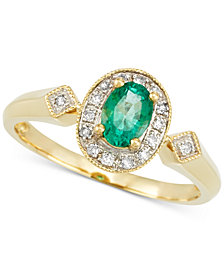 RARE Featuring GEMFIELDS Certified Emerald (1/3 ct. t.w.) and Diamond Accent Ring in 14k Gold