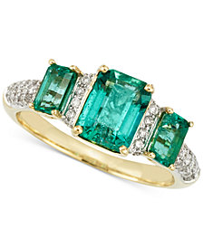 RARE Featuring GEMFIELDS Certified Emerald (1-7/10 ct. t.w.) and Diamond (1/5 ct. t.w.) Ring in 14k Gold