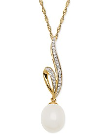 Honora Cultured Freshwater Pearl (8mm) & Diamond Accent Pendant Necklace in 14k Gold