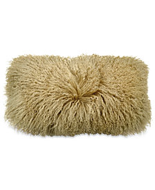 "Donna Karan Home Reflection 11"" x 22"" Gold Dust Faux Fur Decorative Pillow"