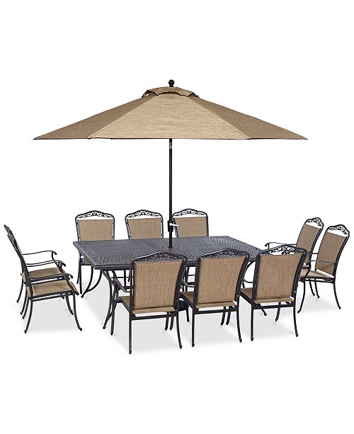 "Furniture Beachmont II Outdoor 11-Pc. Dining Set (84"" x 60"" Dining Table and 10 Dining Chairs), Created for Macy's"