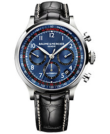 Baume & Mercier Men's Swiss Automatic Chronograph Capeland Black Leather Strap Watch 44mm M0A10065