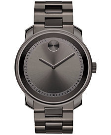 Movado Men's Swiss Bold Gray Ion-Plated Stainless Steel Bracelet Watch 43mm 3600259