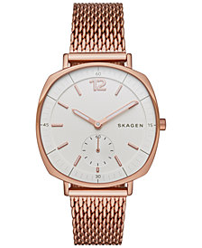 Skagen Women's Chronograph Rose Gold-Tone Stainless Steel Mesh Bracelet Watch 34x39mm SKW2401