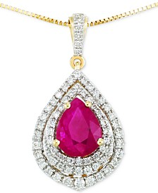 RARE Featuring GEMFIELDS Certified Ruby (5/6 ct. t.w.) and Diamond (1/4 ct. t.w.) Pendant Necklace in 14k Gold