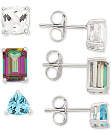 White Topaz, Mystic Topaz and Blue Topaz Earring Trio (5-5/8 ct. t.w.) in Sterling Silver