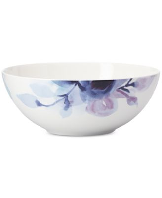 Indigo Watercolor Floral Porcelain Serving Bowl, Created for Macy's