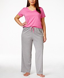 Plus Size Basics V-Neck Solid Pajama Top & Matching Pants Collection