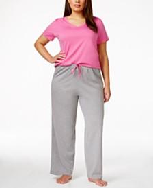 Hue Plus Size V-Neck Pajama Top & Knit Pants