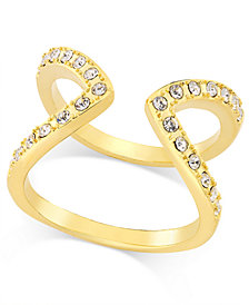 I.N.C. Gold-Tone Pavé Crystal Open-Style Ring, Created for Macy's