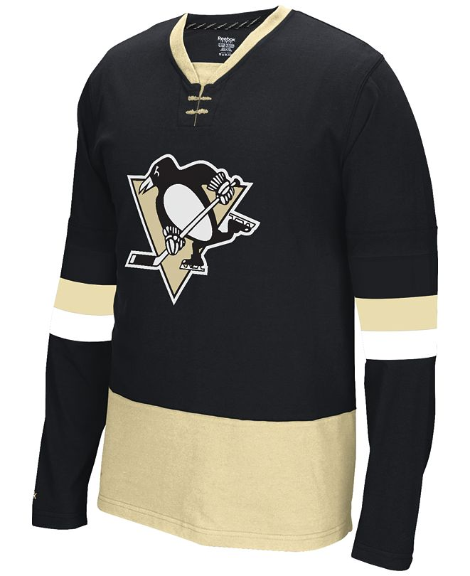 Reebok Men's Long-Sleeve Pittsburgh Penguins Jersey T-Shirt