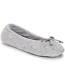 Terry Ballet Flat Slippers with Satin Bow