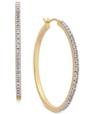 Macy S Diamond Hoop Earrings 1 4 Ct T W In 14k Gold Plated