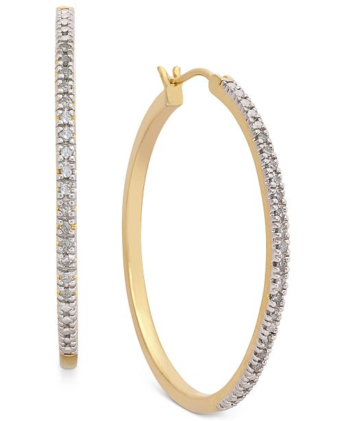 abccda2ca Macy's Diamond Hoop Earrings (1/4 ct. t.w.) in 14k Gold-Plated ...