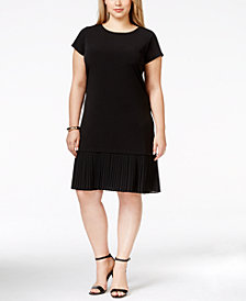 MICHAEL Michael Kors Plus Size Cap-Sleeve Pleated-Flounce Dress
