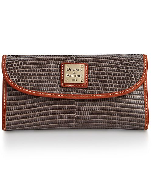 Dooney & Bourke Lizard-Embossed Leather Continental Wallet, Created for Macy's