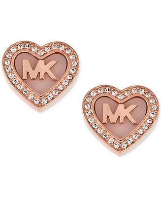 Michael Kors Rose Gold Tone Pav 233 Logo Heart Stud Earrings