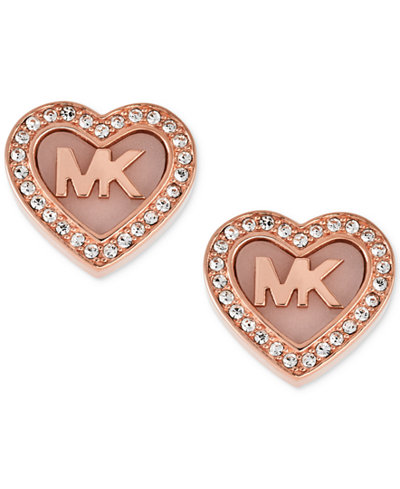 Michael Kors Rose Gold Tone Pav Logo Heart Stud Earrings