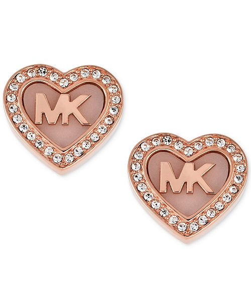 15c0968a2ff8 ... Michael Kors Rose Gold-Tone Pav eacute  Logo Heart Stud Earrings ...