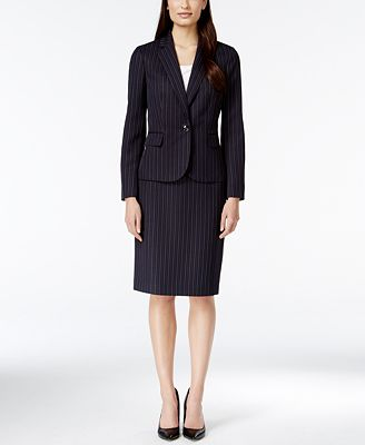 Le Suit One-Button Pinstripe Skirt Suit - Wear to Work - Women ...