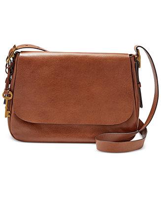 Fossil Harper Large Leather Saddle Crossbody Handbags