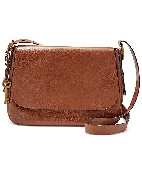 fossil harper medium leather saddle crossbody handbags