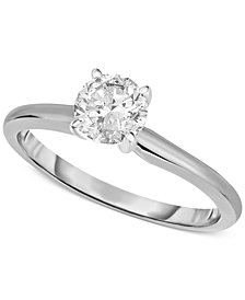 Engagement Ring, Certified Diamond (3/4 ct. t.w.) and 14k White or Yellow Gold
