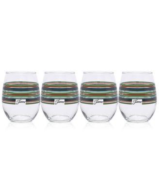 Slate & Sage Stripe  Set of 4 Stemless Glasses