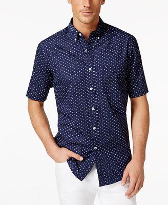 Club Room Mini-Anchor Print Short-Sleeve Shirt, Created for Macy's ...