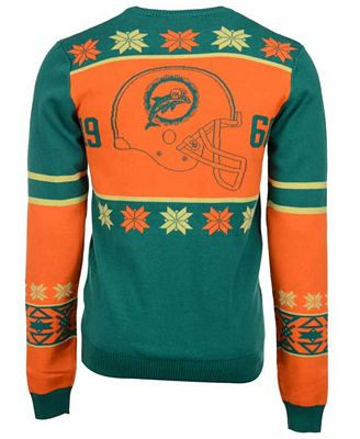 Forever Collectibles Mens Miami Dolphins Retro Christmas Sweater