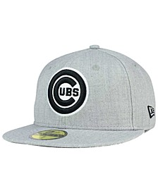 Chicago Cubs Heather Black White 59FIFTY Fitted Cap