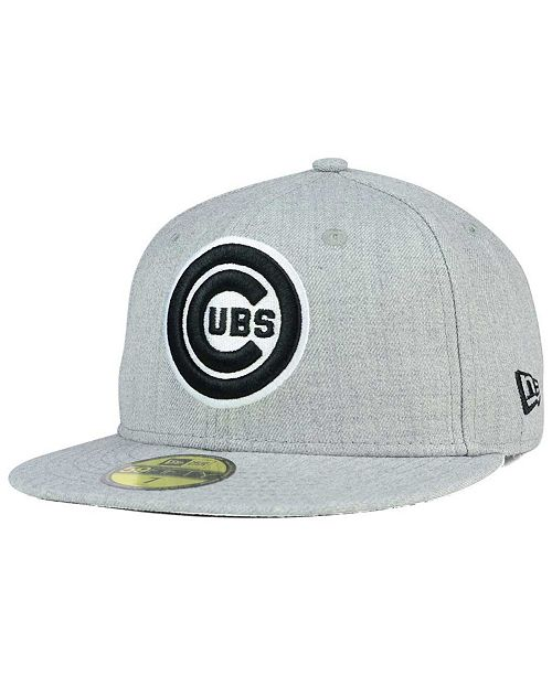New Era Chicago Cubs Heather Black White 59FIFTY Fitted Cap - Sports ... 8049293bf1d