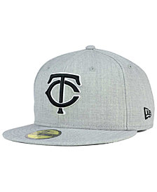 New Era Minnesota Twins Heather Black White 59FIFTY Fitted Cap