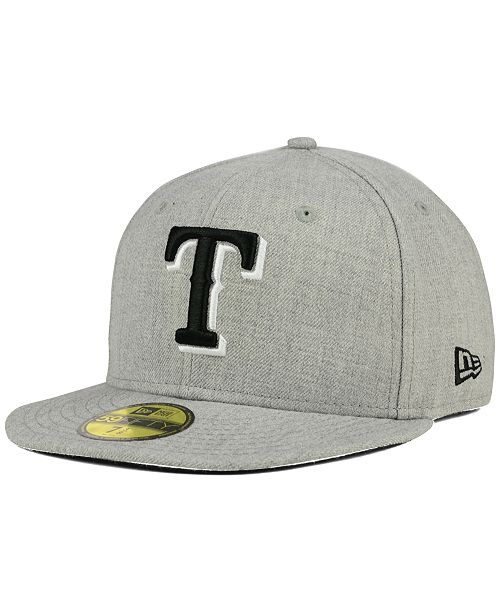 ... New Era Texas Rangers Heather Black White 59FIFTY Fitted Cap ... 91a0f53a3204