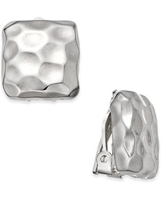Charter Club Silver-Tone Hammered Square Clip-on Earrings, Created for Macy's