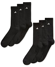 Men's Cushioned Crew Extended Size Socks, 6-Pack