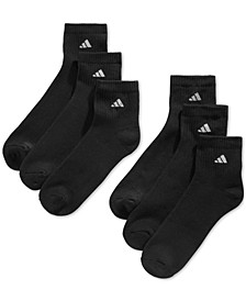 Men's Cushioned Quarter Extended Size Socks, 6-Pack