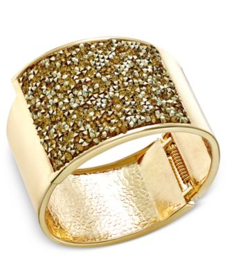 Image of INC International Concepts Gold-Tone Glittery Wide Hinged Bangle Bracelet, Only at Macy's