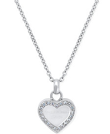 "Michael Kors Mini 16"" Crystal Heart Pendant Necklace"