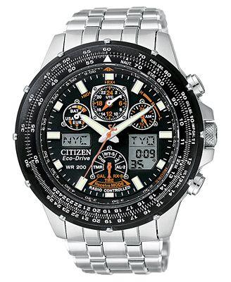 Citizen Men's Eco-Drive Skyhawk Atomic Stainless Steel Bracelet Watch 45mm JY0000-53E