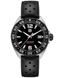 Men's Swiss Formula 1 Black Rubber Strap Watch 41mm
