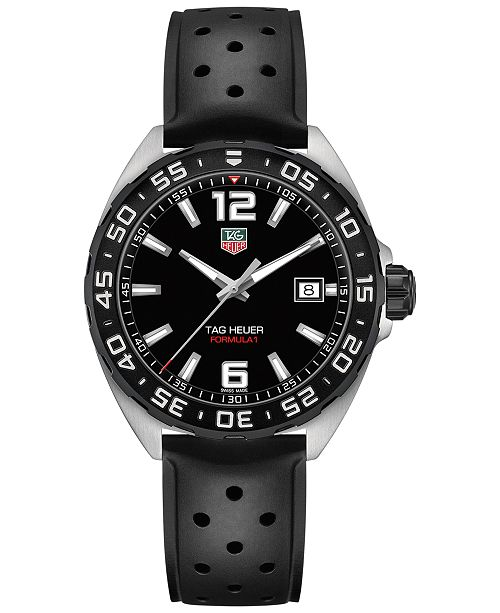 be42191a7461 TAG Heuer Men s Swiss Formula 1 Black Rubber Strap Watch 41mm ...