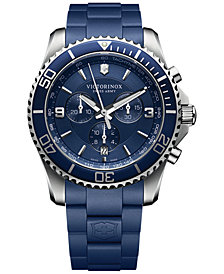 Victorinox Swiss Army Men's Swiss Maverick Blue Rubber Strap Watch 43mm 241690