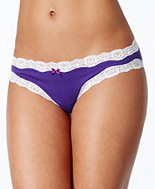 Jenni by Jennifer Moore Cotton Lace Trim Bikini, Created for Macy's